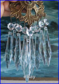 100 Silver U-drop clear Crystal Glass brass pin vintage Lamp Chandelier Part