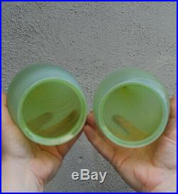 2 Antique Vaseline glass shade PART Newel post lamp sconce Vintage Uranium Opali