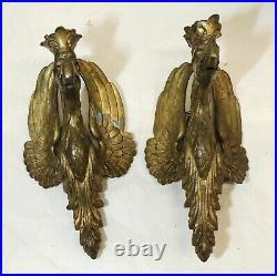 2 Antique vtg Victorian Cast Brass Eagle Head Lamp Hardware Metal Parts Salvage