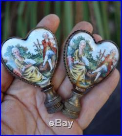 2 finial lamp part Vintage shade harp holder brass Porcelain Victorian miniature