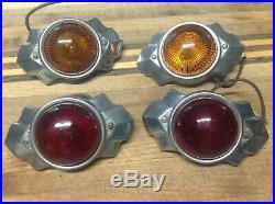 2 pair KING BEE travel Trailer lamp Vintage Art DECO Light hy Power glass lens