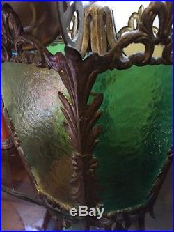 2x VTG Blue & Green Color Glass Bronze Floral Ceiling Light Lamp Fixture Part