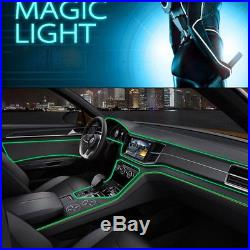 4 Green LED Car Ambient Light Panel Door Decorative Lamp Line + 4m Optical Fiber