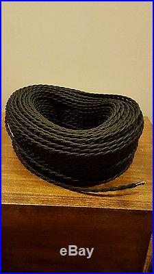 50 ft Black Twisted Cloth Covered Wire Vintage Antique Lamp Cord