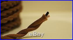 50 ft Brown Twisted Cloth Covered Wire Vintage Antique Lamp Cord