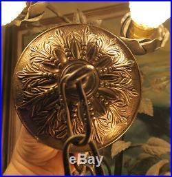 5 Vintage cast Brass Bronze Ceiling canopy 23 chain lamp chandelier part