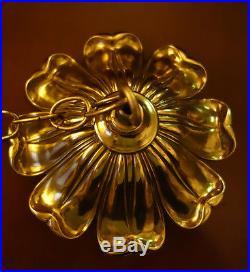 6.5 Vintage Brass Bronze Ceiling cap canopy chain lamp chandelier part Italian