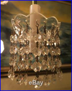 6 Antique CUT crystal glass lamp bobeche Part Vintage Chandelier prism garlands