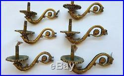 6 Vintage CHANDELIER Lamp ARM Parts / ORNATE BRASS / BRONZE
