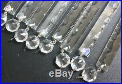 8 Crystal Spear Vtg 6'' Chandelier Lamp Part Victorian Glass Luster Prisms