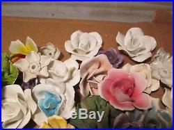99G Vtg Lot of 75+ Porcelain Flowers Lamp Chandelier Assortment Capodimonte