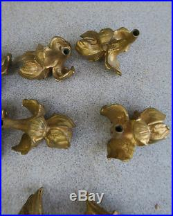 9 flower finial lamp Brass candelabra part vintage French Dore Flower Bronze wow