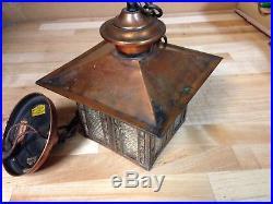 Antique Vintage Copper Arts Crafts Missi0n Ceiling Light Fixture Lamp Part