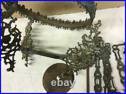 Antique Vintage Hanging Brass Light Lamp Parts