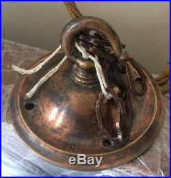 Antique Vintage Holophane Prismatic 2 Part Pendant Industrial Ceiling Light Lamp