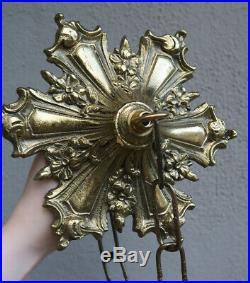 Antique floral Brass Bronze cap canopy FRENCH lamp chandelier part Vintage old