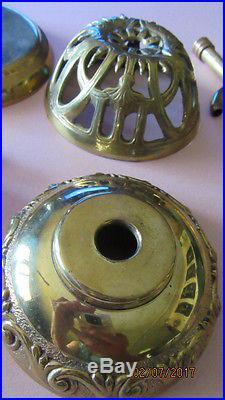 Antique or Vintage Czech Amber Crystal & Bronze Lamp Parts for Refurbishing