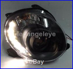 For Fiat 500 2007-2014 LED Headlights LED Front Lamps Black Housing F