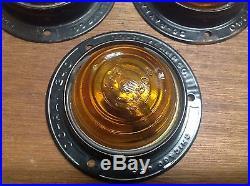 LQQK! Vintage DoRay 1240 AMBER glass turn light LAMP Travel Trailer Set 3 NOS
