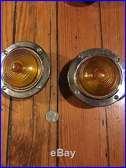 NOS 2 VinTaGe Amber KD520 LAMP GLASS Truck TRAVEL TRAILER Tail Marker Lights-Lot