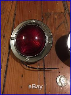 NOS 2 VinTaGe Red KD520 LAMP GLASS Truck TRAVEL TRAILER Tail Marker Lights-Lot