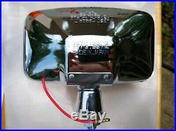 NOS Vintage Pair Sears Amber Quartz-Halogen Auxiliary Chrome Fog Lamp Light