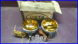 NOS Vintage Yellow Lens Fog Lights Lamps Rat Rod Hot Rod (Loc. A11-B02)