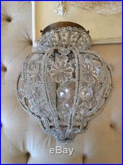 OMG ITALIAN Beaded dome vtg style MACARONI BEADED LAMP CHANDELIER PART