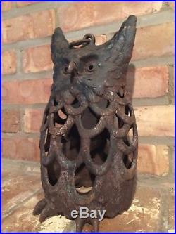 Old Antique Garden Oil Lantern Owl Sculptural Cover Cast Iron Vintage Lamp Part