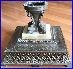 Old Vtg Antique Cast Metal Floor Lamp Light Torchiere Serpent Sea Creature Base