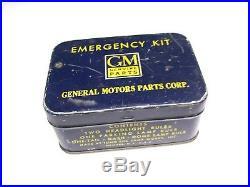 Old original vintage GM emergency auto kit tin can box lamp fuse 1948 1949 1950