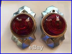 PAIR Red Vintage ArT DeCo Clearance LAMP Truck TRAVEL TRAILER Marker Light OLD
