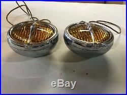 PAIR VinTage 6V ELECTROLINE FOG LIGHTS Lamp Hot RaT Rod Car OLD Truck MOTORCYCLE
