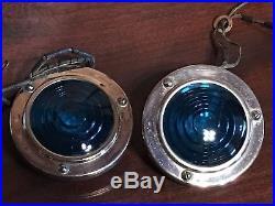 PR VinTaGe YANKEE KD Blue LAMP GLASS Truck TRAVEL TRAILER Tail Marker Lights