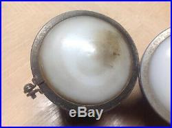 Pair 1920's cowl LAMP Chevy fender Light CHEVROLET vintage AUTO Milk glass LENS