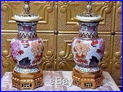 Pair Of 28 Vintage Cloisonne Lamps-chinese-vase-porcelain-enamel All New Parts