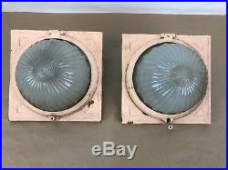 Pair Of Vintage Train Lamps Frosted Globe Antique Light Sconce Old Part # 52373