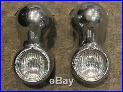 RARE 1954 Mercury Fog Light Housings Bumper Mount Guards Chrome Vintage Lamps