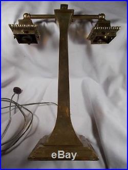 Vintage 2 Socket MISSION Brass Electric Table Lamp c1900s