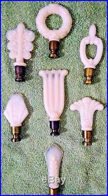 Vintage Aladdin Alacite Lamp Finials Lot of 7 Different Glass Designs RARE SET