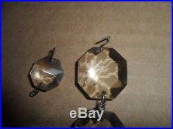 Vintage Antique Lot Of 24 Crystal Glass Spear Prisms Chandelier Lamp Part 10 Lg