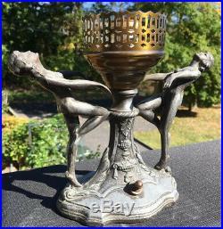 Vintage Art Nouveau White Pot Metal Filgural Lamp Base For Parts/ Restore