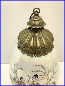 Vintage Asian Ladies Large Glass Retro MCM Swag Lamp Shade No Electrical Parts