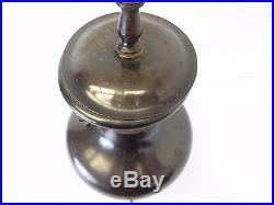 Vintage Brass Chinese Export China Table Lamp Light Wood Base Decorative Parts