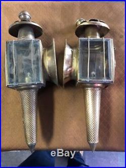 Vintage Brass Model T Kerosene Car Head Lights Lamps Original