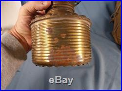 Vintage Consolidate Brass Oil Lamp Drop In Font Tank & 4in Shade Holder c1890