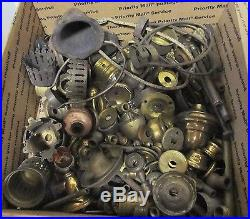 Vintage Electric Lamp Parts LARGE lot sockets, spacers, switches, finials LQQK