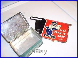 Vintage Ford Tin box lamp bulbs fuse + Take it easy promo license plate topper