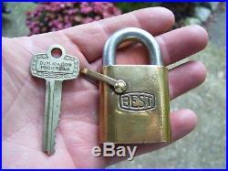 Vintage Ford original Brass padlock key sandusky auto kit promo parts 60s tool