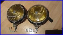 Vintage Hella 144 chrome yellow fog lights fog lamps VW Porsche Mercedes